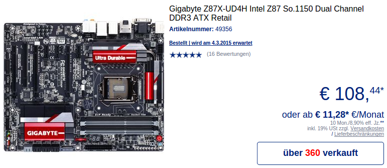 Gigabyte Z87X-UD4H bei Mindfactory